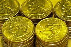 Free Golden Quarter Dollar Stock Images - 5702994