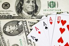 Free Poker Cards And Dollar Bills Stock Image - 5703621