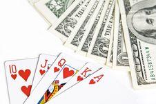 Poker Cards And Dollar Bills Stock Photo
