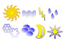 8 Weather Icons Royalty Free Stock Photography