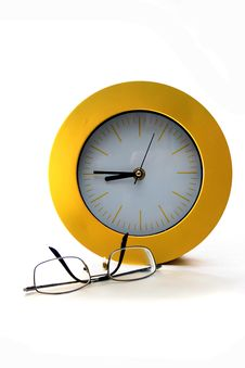 Free Clock And Glasses Stock Photo - 5704430