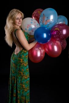 Girl With Ballons Stock Photos