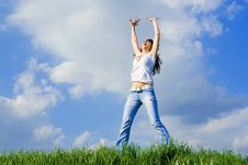 Free Happy Young Woman Is Jumping Stock Photography - 5707642