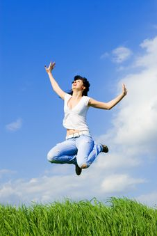Free Young Woman Is Jumping Stock Photography - 5707722