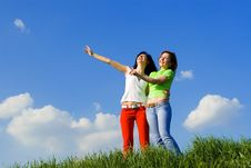 Free Two Young Women On A Green Meadow Stock Images - 5708384