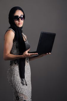 Free Classy Woman With Laptop Stock Image - 5708491