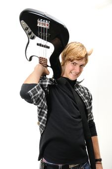 Free Young Misician With Electric Bass Stock Photo - 5708620