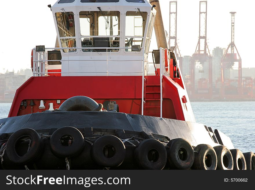 Bright Red Tugboat