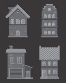 Free Flat Monochrome Vector Houses Royalty Free Stock Photo - 57074085