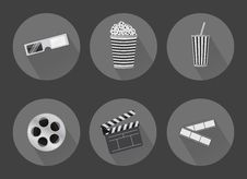 Free Flat Cinema Icons With Shadows Royalty Free Stock Photography - 57074607