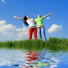 Free Two Happy Women Dreams To Fly Stock Images - 5710454