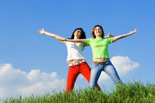 Free Two Happy Women Dreams To Fly On Winds Stock Image - 5710471