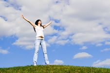 Free Happy Woman Dreams To Fly On Winds Royalty Free Stock Image - 5710566