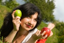 Free Pretty Woman Eating Apple Stock Images - 5710724
