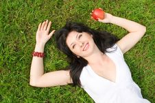 Free Pretty Woman Eating Green Apple Royalty Free Stock Photography - 5710757