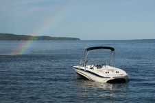 Free Small Boat On Lake With Rainbow Royalty Free Stock Image - 5710806