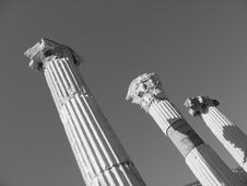 Three Ancient Columns - Ephesus - Black And White Royalty Free Stock Image