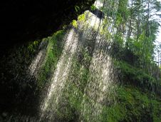 Waterfalls Sunlight In Oregon Stock Images