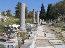 Ancient Roads Of Ephesus Stock Photo