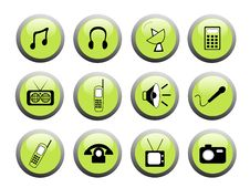Free Green Media Icon Buttons Royalty Free Stock Photography - 5711187