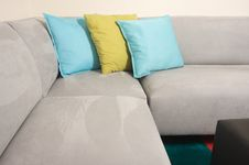 Free Grey Suede Couch Corner Area Stock Photography - 5711202