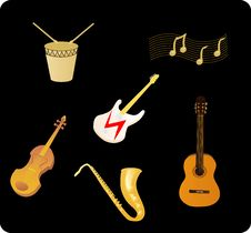 Various Musical Instruments Stock Images