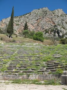 Delphi, Greece - Ancient Amphitheater And Mountain Royalty Free Stock Images