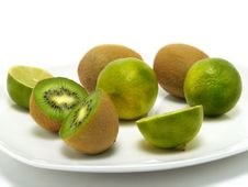 Fresh Green Fruits Plate Royalty Free Stock Photos
