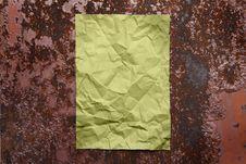 Free Paper Sheet On Rusty Iron Royalty Free Stock Image - 5713106