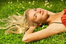 Free Woman Relaxing On A Meadow Royalty Free Stock Image - 5713456