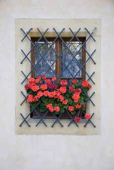 Free Window With Red Flowers Royalty Free Stock Photo - 5713785