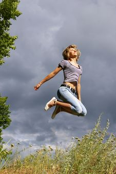 Free Beautiful Young Woman Jumps Stock Photo - 5715660