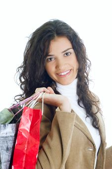 Free Attractive Young Lady With Shopping Bags Royalty Free Stock Image - 5715736