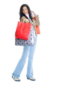 Free Attractive Young Lady With Shopping Bags Royalty Free Stock Photos - 5715748