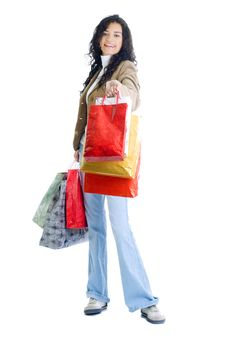 Free Attractive Young Lady With Shopping Bags Royalty Free Stock Image - 5715766