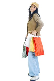 Free Attractive Young Lady With Shopping Bags Royalty Free Stock Image - 5715776