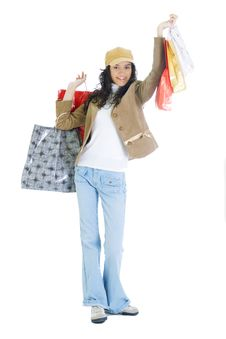 Free Attractive Young Lady With Shopping Bags Stock Image - 5715781