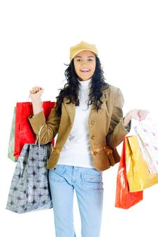 Free Attractive Young Lady With Shopping Bags Royalty Free Stock Photo - 5715795