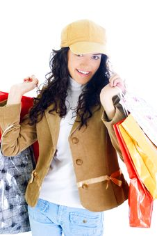 Free Attractive Young Lady With Shopping Bags Stock Photography - 5715822