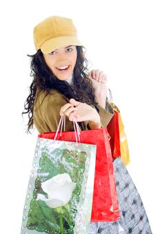 Free Attractive Young Lady With Shopping Bags Stock Photo - 5715830