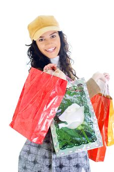 Free Attractive Young Lady With Shopping Bags Stock Photos - 5715893
