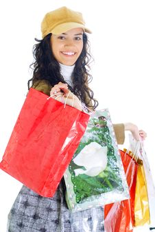 Free Attractive Young Lady With Shopping Bags Stock Image - 5715901