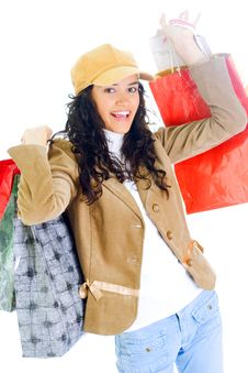 Free Attractive Young Lady With Shopping Bags Stock Photo - 5715930