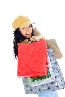 Free Attractive Young Lady With Shopping Bags Royalty Free Stock Images - 5715949