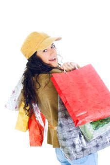 Free Attractive Young Lady With Shopping Bags Stock Photo - 5715960