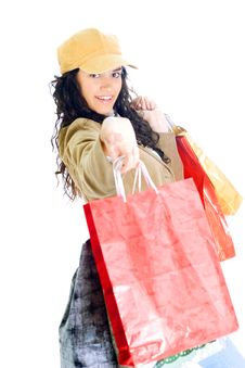 Free Attractive Young Lady With Shopping Bags Royalty Free Stock Image - 5716006