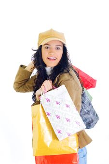 Free Attractive Young Lady With Shopping Bags Royalty Free Stock Photo - 5716025
