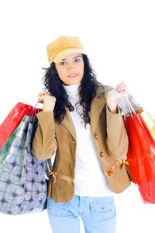 Free Attractive Young Lady With Shopping Bags Royalty Free Stock Photography - 5716037