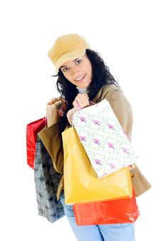 Free Attractive Young Lady With Shopping Bags Royalty Free Stock Photography - 5716047