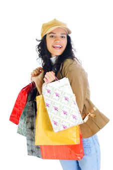 Free Attractive Young Lady With Shopping Bags Stock Images - 5716054